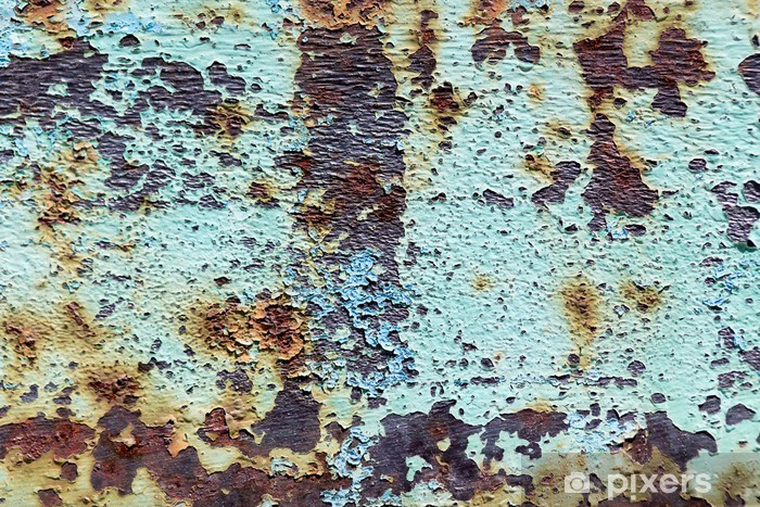old rusty metal with paint as background Vinyl Wall Mural - Backgrounds