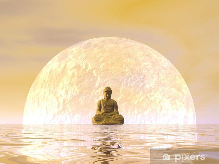 Buddha meditation - 3D render Pixerstick Sticker - Styles