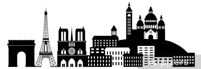 Paris City Skyline Silhouette Black and White Illustration Vinyl Wall Mural - Europe