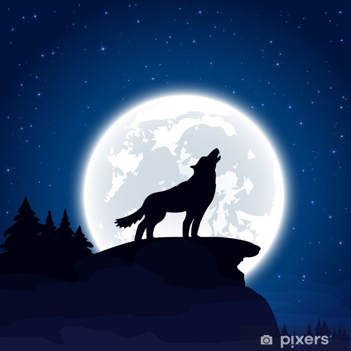 Wolf on Moon background Vinyl Wall Mural - Themes