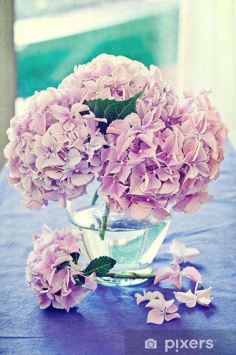 Vinyl Fotobehang Roze hortensia bloemen in een vaas. - Bloemen