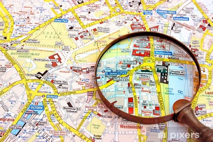 Cartina Geografica Di Londra Da Stampare.Carta Da Parati Mappa Di Londra E Lente Di Ingrandimento Pixers Viviamo Per Il Cambiamento