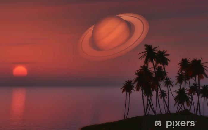 Papier peint vinyle Île de palmier contre un ciel de coucher du soleil avec la planète Saturne - Saturne