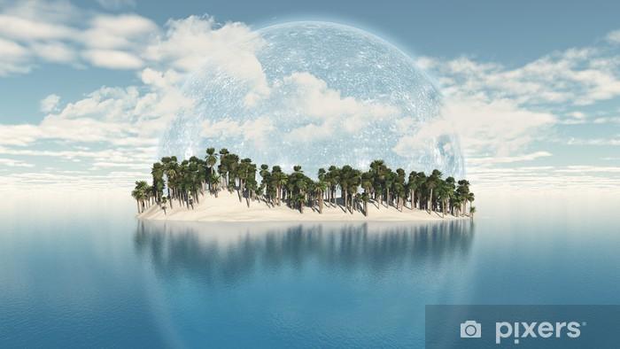 Sticker Pixerstick 3D île de palmier avec la planète dans le ciel - Signes et symboles
