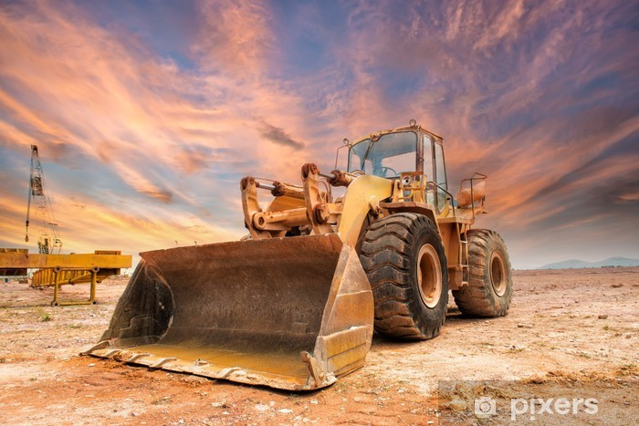 excavator loader machine during earthmoving works outdoors Vinyl Wall Mural - Applied and Fundamental Sciences