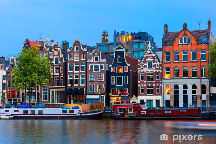Night city view of Amsterdam canal with dutch houses Pixerstick Sticker - Themes