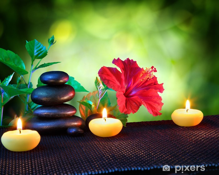 candles and stones spa composition - with hibiscus Pixerstick Sticker -