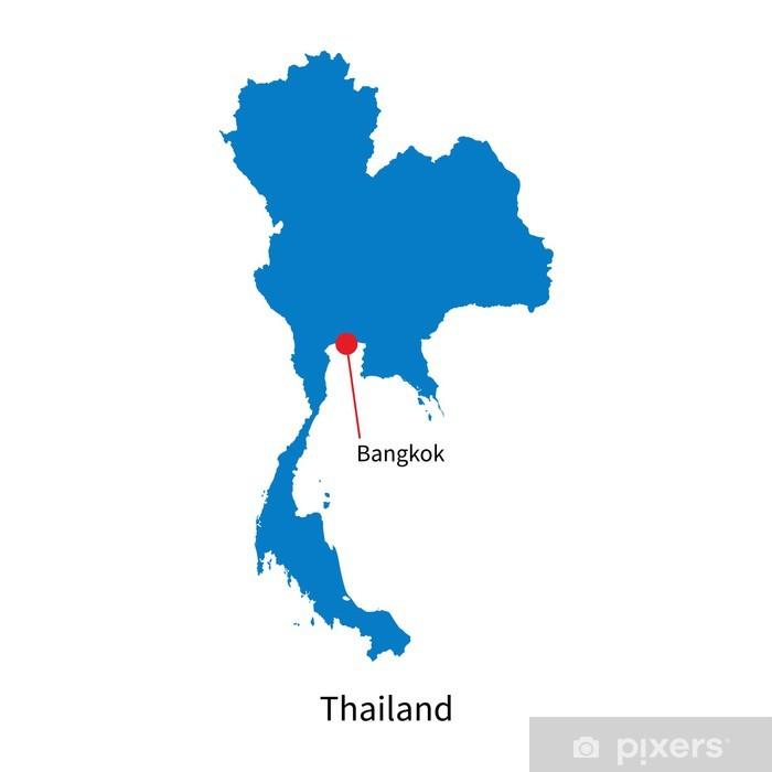 Yksityiskohtainen Vektori Kartta Thaimaa Ja Paakaupunki Bangkok