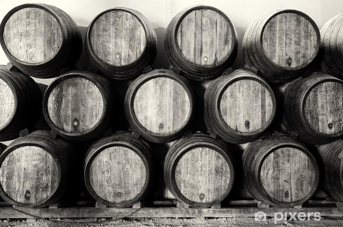 Fototapeta winylowa Whisky lub wina baryłek w czerni i bieli - Tematy