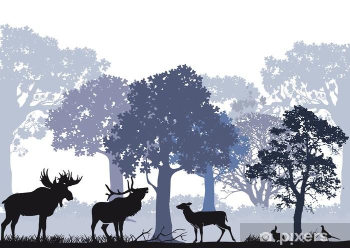 Fototapeta winylowa Jeleń z łosia w lesie -