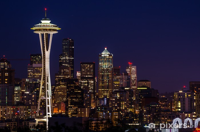 Seattle Skyline at Night Vinyl Wall Mural - Themes
