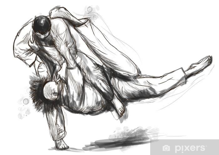 Vinilo Pixerstick Judo - una ilustración dibujados a mano de tamaño completo - Deportes extremos