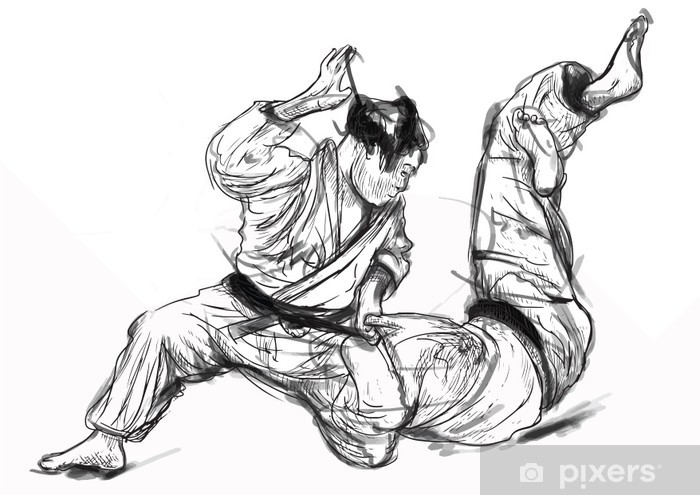Judo - hand drawn illustration converted into vector Pixerstick Sticker - Extreme Sports