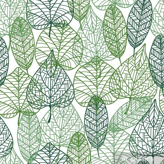 Papier peint vinyle Green leaves seamless. - Styles