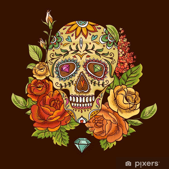 Skull and Flowers Day of The Dead Pixerstick Sticker - Flowers