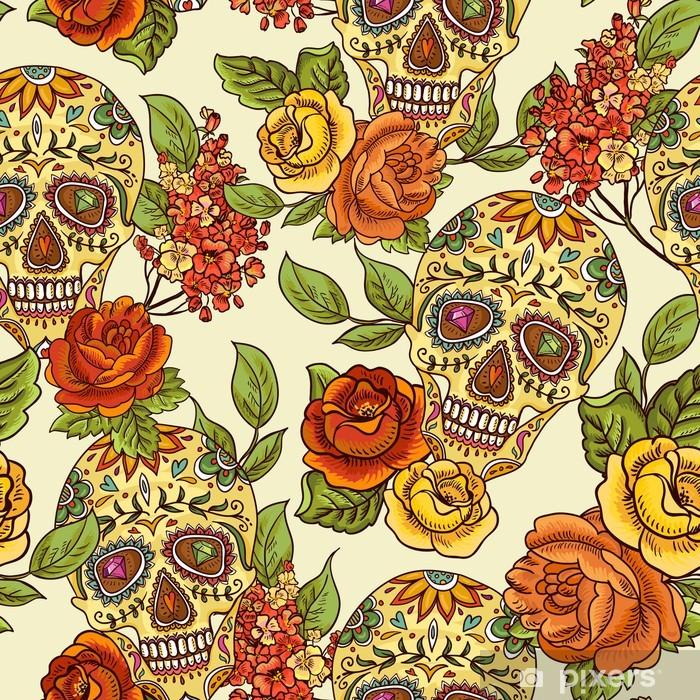 Plakat Czaszka, diament i kwiaty bez szwu tła - Kwiaty