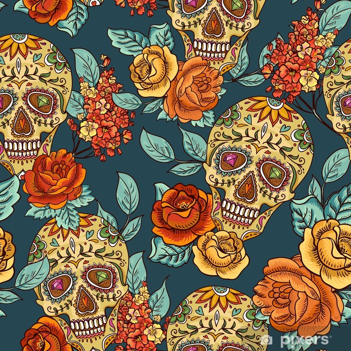 Skull, diamond and Flowers Seamless Background Poster - Flowers