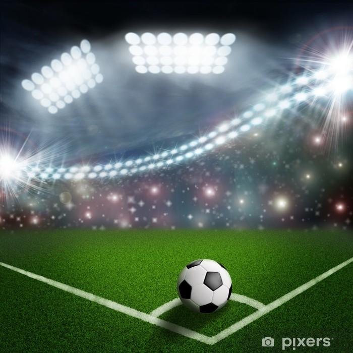 Fotomural Estándar Balón de fútbol en la esquina campo verde - Logros adcc5cdc3a715