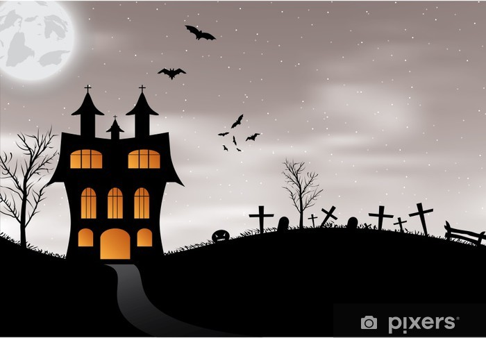 Fototapeta Halloween Karta S Hrad Dyne Netopyry A Mesic Pixers