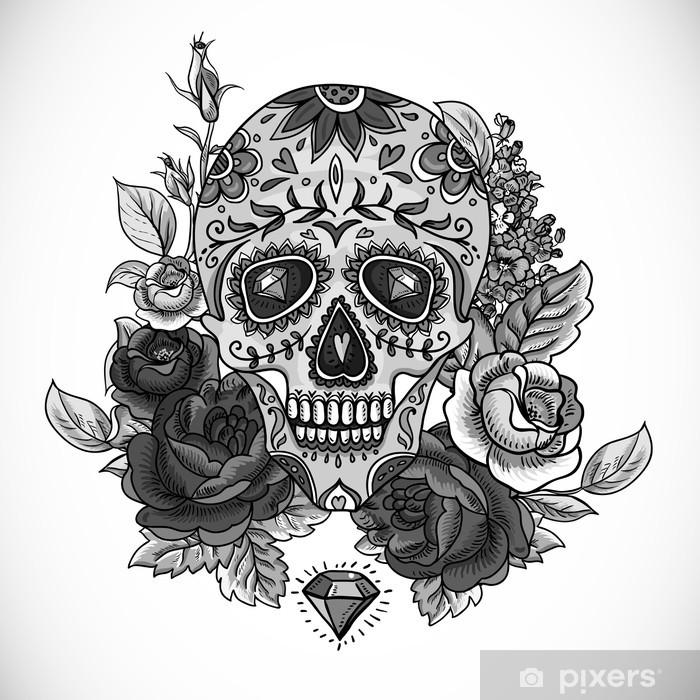 Monochrome Skull, diamond and Flowers Card Pixerstick Sticker - Flowers