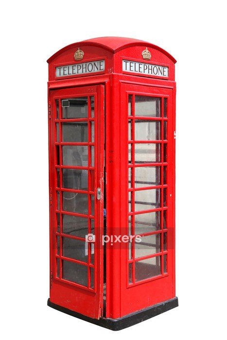 Classic British red phone booth in London, isolated on white Wall Decal - European Cities
