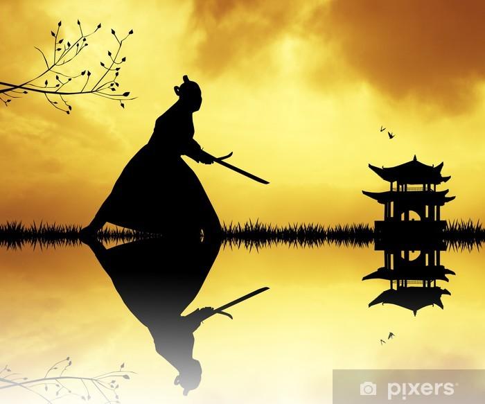 Naklejka Pixerstick Sylwetka Samurai o zachodzie słońca - Style