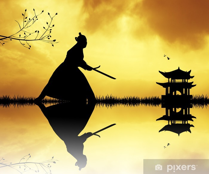Samurai silhouette at sunset Vinyl Wall Mural - Styles