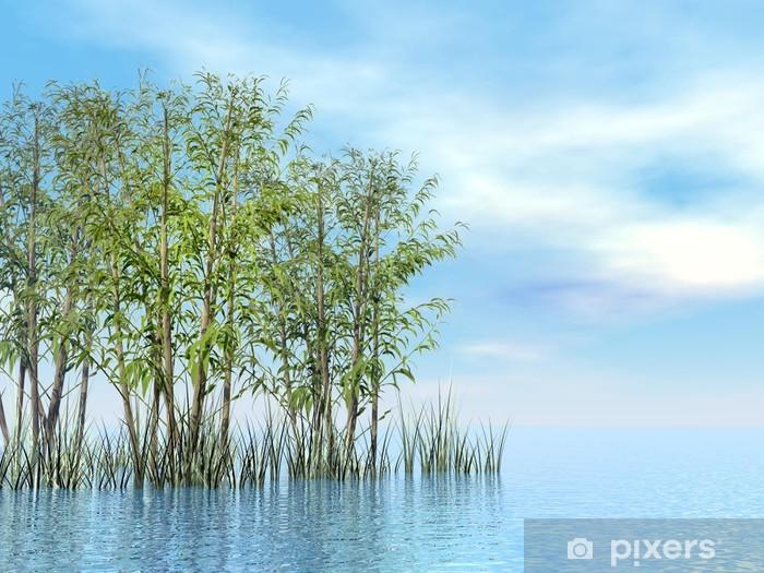 Sticker Pixerstick Bambou et herbe - 3D render - Religion