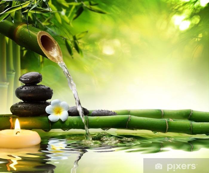 Kylpylä kivi puutarhassa virtaavalla vedellä Pixerstick tarra - Styles