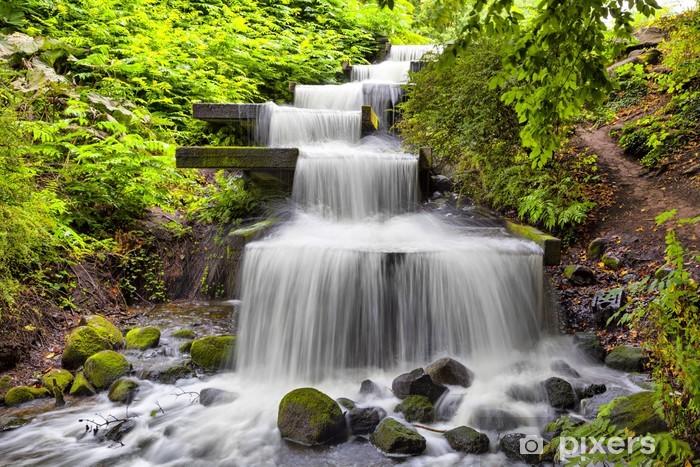 Fototapeta winylowa Kaskadowy wodospad w parku Planten un Blomen w Hamburgu - Tematy
