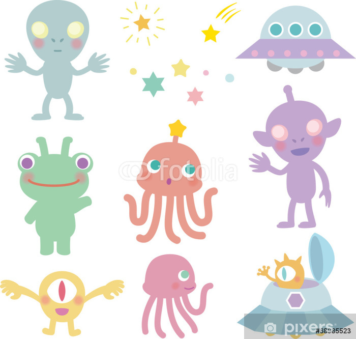 Sticker Pixerstick 宇宙 人 と 宇宙 船 - Animaux imaginaires
