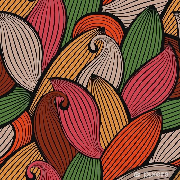 6da0055a8a Carta da Parati in Vinile Vector seamless disegnato a mano di foglie di  autunno colorato