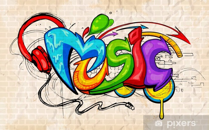 Graffiti style Music background Pixerstick Sticker - Themes