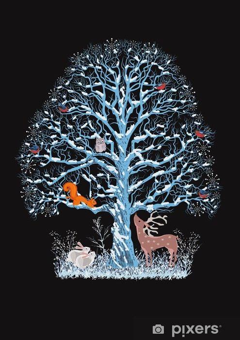 Naklejka Pixerstick Duży niebieski drzewa z różnych zwierząt na czarnym tle - Święta międzynarodowe