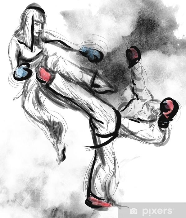 Fototapet av Vinyl Tae-Kwon Do. En fullstor räcker den utdragna illustrationen på vitt - Teman