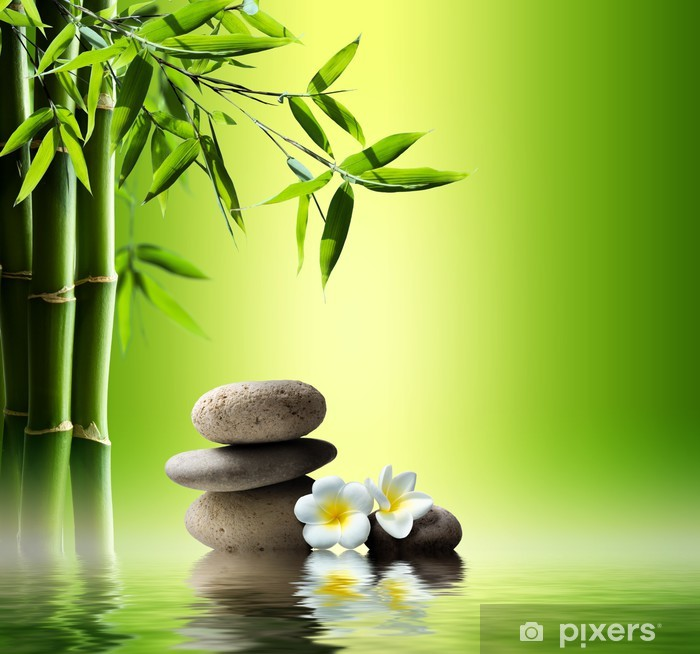 spa background with bamboo and stones on water Pixerstick Sticker - Styles