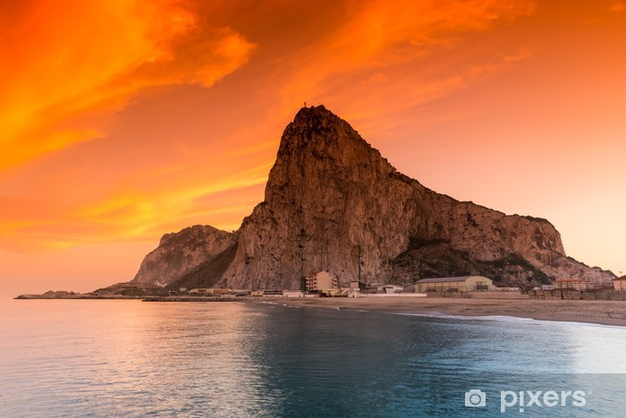Sticker Pixerstick Le rocher de Gibraltar vu de la baie côté - Europe