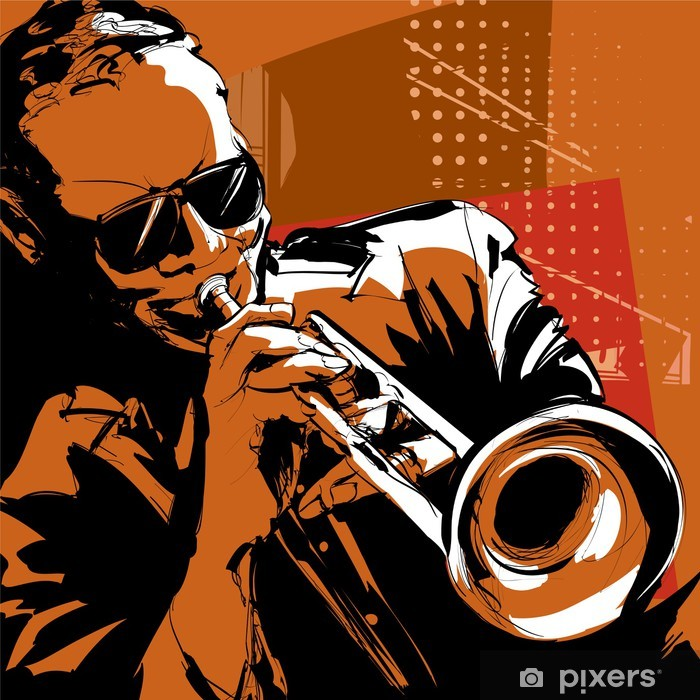 Vinyl Fotobehang Jazztrompettist - jazz
