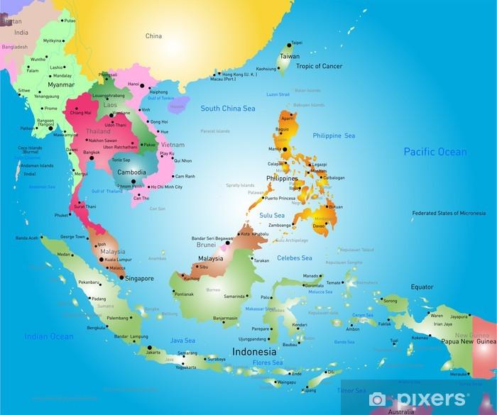 Kaakkois Aasian Kartta Juliste Pixers Elamme Muutoksille