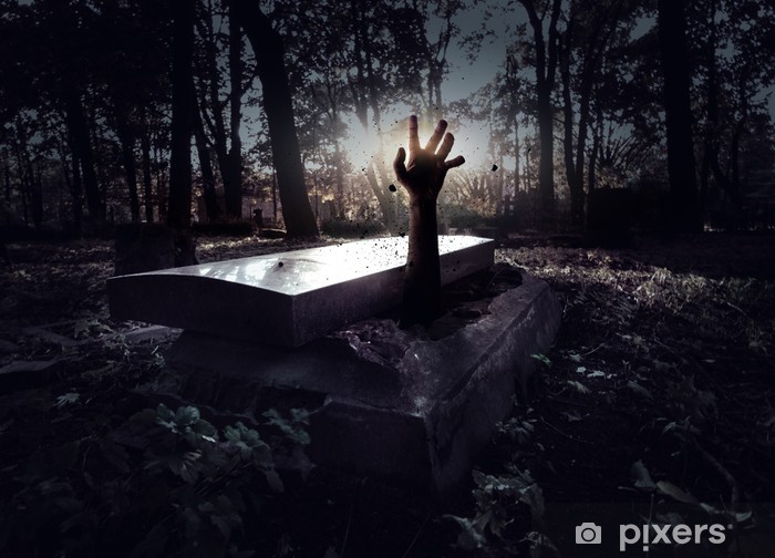 Hand rising out from the grave Pixerstick Sticker - Themes