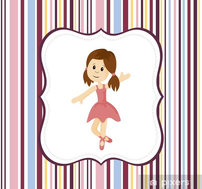 Cute ballerina girl with label frame on a stripey background Pixerstick Sticker - Backgrounds