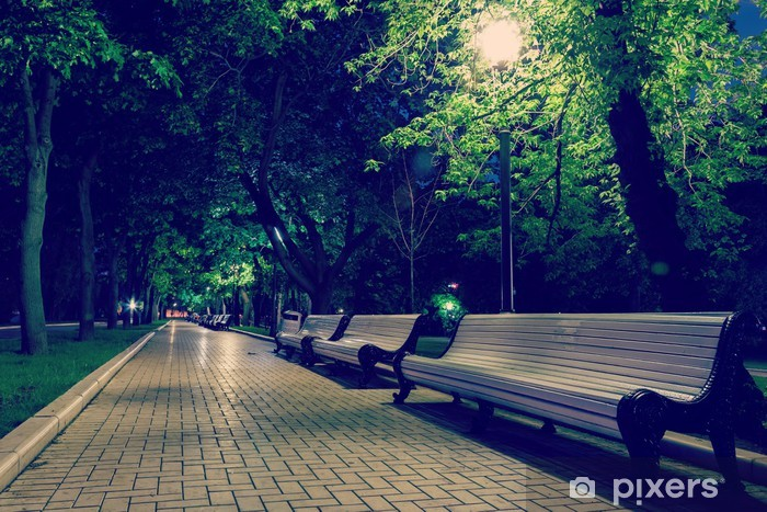 benches and pavement in the light Pixerstick Sticker - Asian Cities