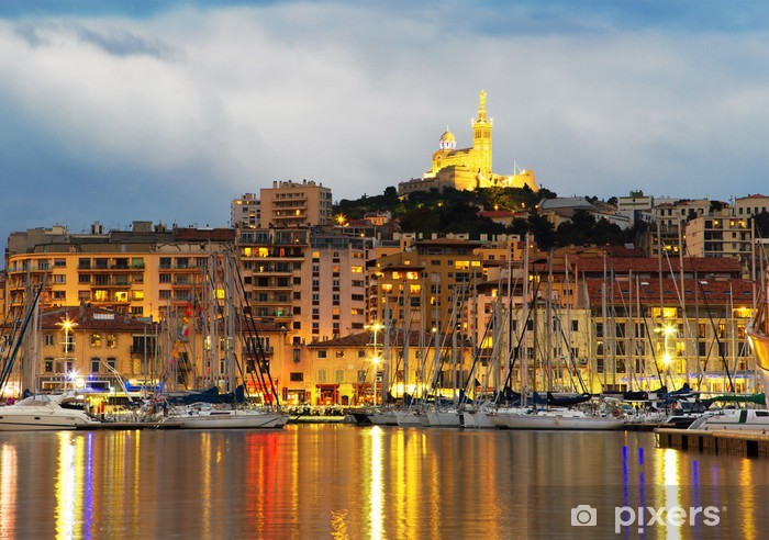 Pixerstick Sticker Marseille, Frankrijk panorama in de nacht - Thema's
