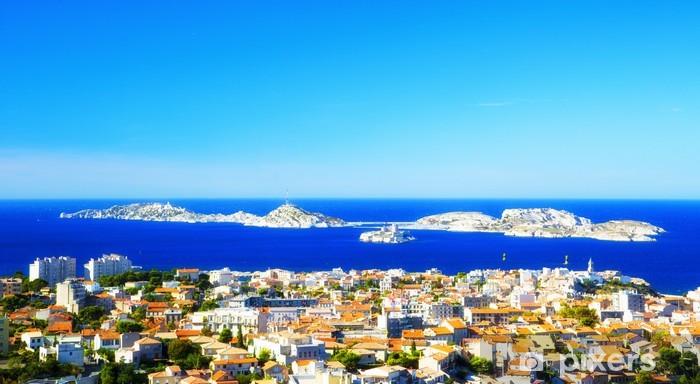 Pixerstick Sticker Luchtfoto van de stad Marseille en de haven, Frankrijk - Europa