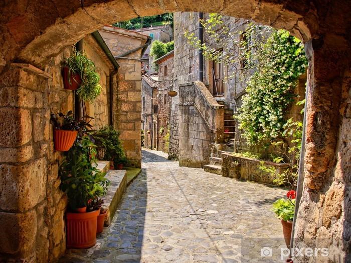 Naklejka Pixerstick Łukowata brukowanej ulicy w toskańskiej wiosce, włochy - Tematy