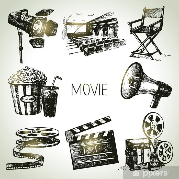 Papier peint vinyle Film et plateau de tournage. Dessinés à la main Vintage illustrations - Thèmes