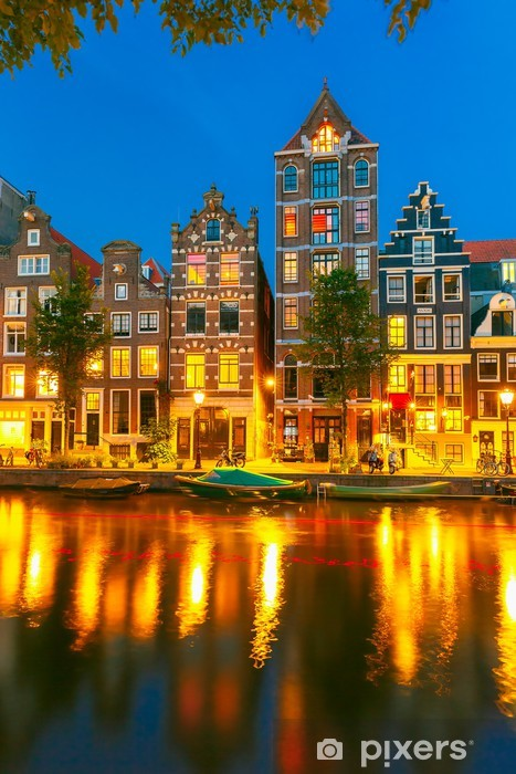 Night city view of Amsterdam canal with dutch houses Self-Adhesive Wall Mural - European Cities