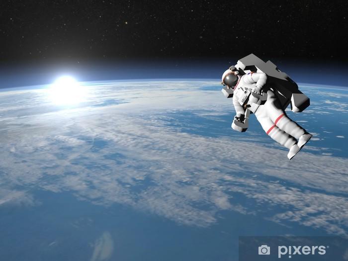 Pixerstick Sticker Astronaut of kosmonaut vliegen op aarde - 3D render - Bestemmingen