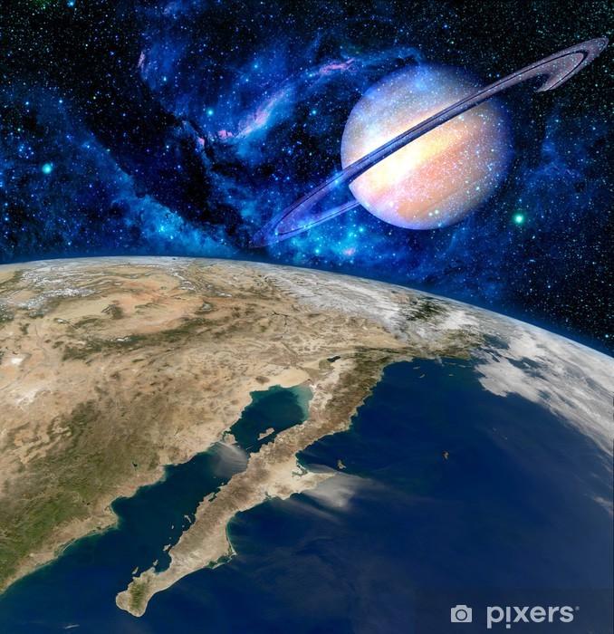 Papier peint vinyle Terre Saturne Planète Surréalisme - Terre