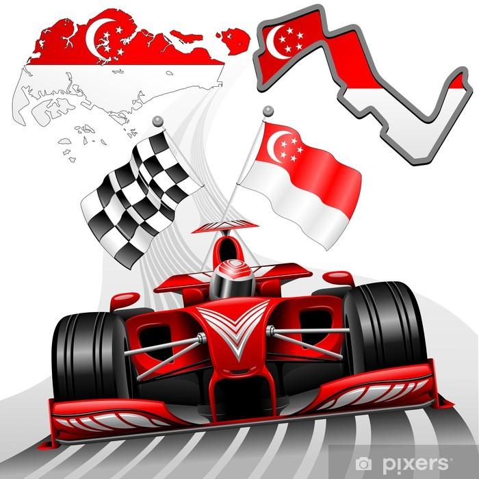 Papier peint vinyle Formule 1 voiture de course GP de Singapour - Thèmes
